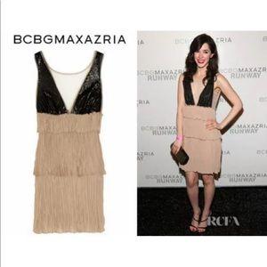 BCBG AverilSEXY Nude Crinkled and Sequin Dress XXS